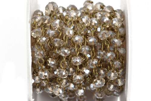 bronze 6mm beads fch0570b 13ft GOLDEN SHADOW Crystal Rondelle Rosary Chain