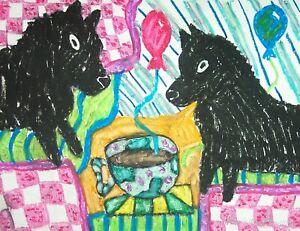 SCHIPPERKE-Drinking-Coffee-Pop-Art-Print-Dog-Collectible-Signed-by-KSams-8-x-10