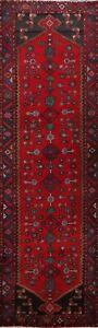 Vintage-Geometric-Tribal-Meshkin-Hand-knotted-Red-Wool-Runner-Rug-10-039-2-034-x-3-039-6-034