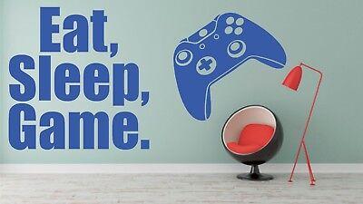 Eat Sleep Game Wall Art Sticker Gaming Gamer Boys Girls Kids Bedroom Decal