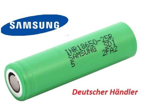 2500mAh 3,6-3,7V Li-Ionen Akku flat Top 20A Entladestrom Samsung INR18650-25R