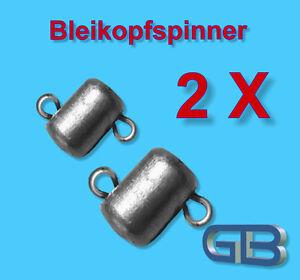 2-x-Bleikopfspinner-mit-2-Edelstahl-Ose-Jigkopf-Eriekopf-Bleikopf-Blei