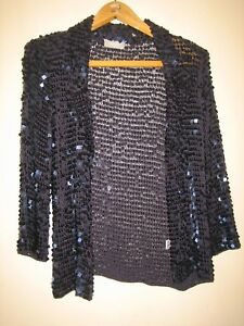 A-LOVELY-DARK-BLUE-SHOULDER-PADDED-SEQUIN-JACKET-SIZE-SMALL-PIT-PIT-18-034
