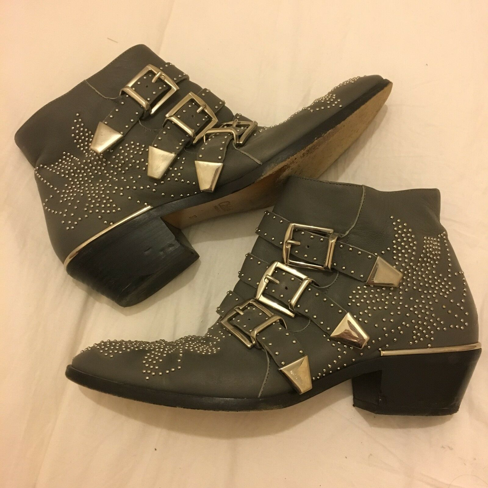 Chloe susanna ankle boots, size 37, grey with silver studs