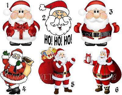 SANTA REINDEER CHRISTMAS STICKER WALL DECAL OR IRON ON HEAT TRANSFER LOT XC