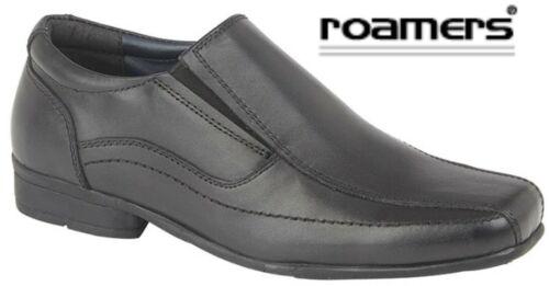 BOYS Slip On Black Leather School Shoes Sizes 1 2 3 4 5 6