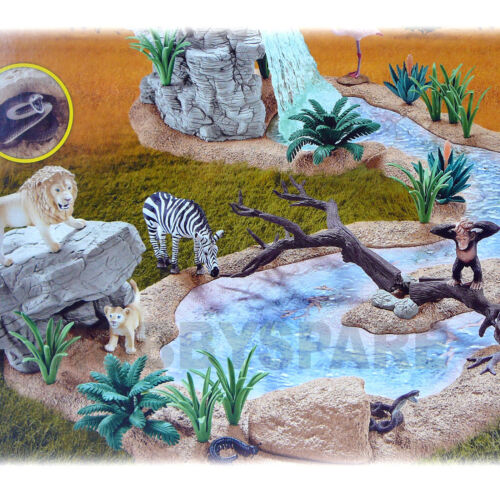 NEW SCHLEICH WILD LIFE BIG ADVENTURE AT WATER HOLE w EXCLUSIVE ZEBRA LION 42321