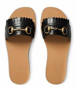 053f84f88 Image is loading Gucci-Varadero-Black-Horsebit-Gold-Fringed-Slide-Mule-