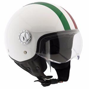 Casco-Moto-Custom-Scooter-Demi-Jet-Omologato-ECE-R22-05-Visiera-ITALIA-A-STRISCE