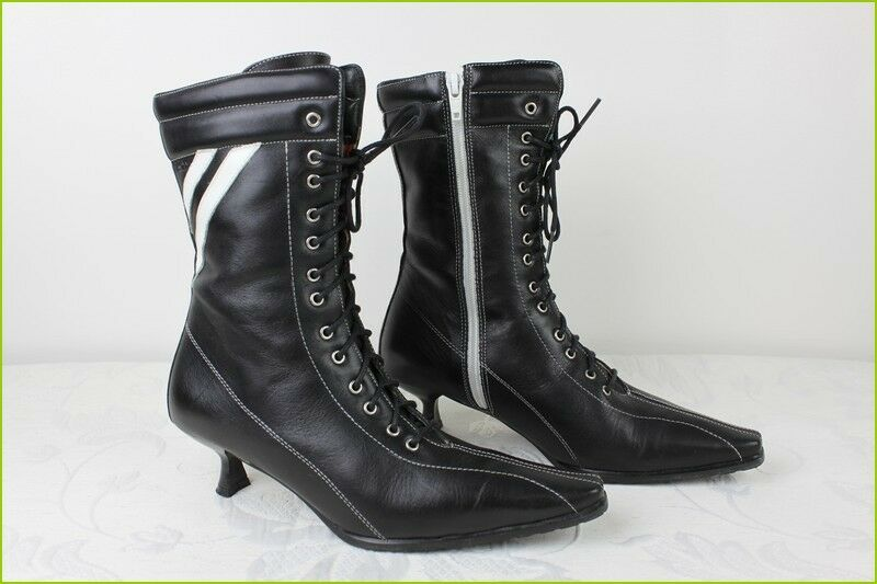 Boots Lace ROXY Leather black and white T 36 TOP CONDITION