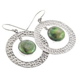1-1-8-034-GREEN-FRESHWATER-BIWA-PEARL-HOOPS-925-STERLING-SILVER-earrings