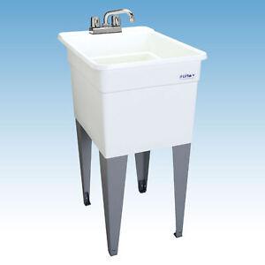 SINGLE-UTILITY-SLOP-SINK-Narrow-Laundry-Tub-Garage-Bath-15Gal-Wash ...
