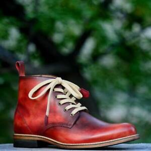 Men-039-s-Vintage-Handmade-Chukka-Boots-Casual-Hiking-Real-Calf-Skin-Leather-Shoes