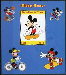 Chad-2018-CTO-MICKEY-MOUSE-BASKET-1v-m-s-Disney-Cartoni-Animati-Animazione-TIMBRI