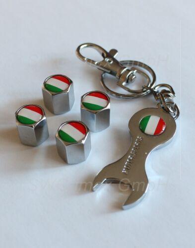 4x tapa válvula llavero válvula tapas cromo logo bandera de Italia