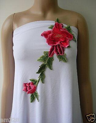 VT254 Red-tone Tier Floral Flower Trim Venise Applique Motif Sew On
