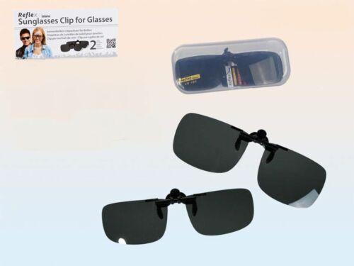 Occhiali da sole clip di trafilatura su Occhiali Sonnenbrillen di trafilatura 2 grandezze con astuccio NUOVO