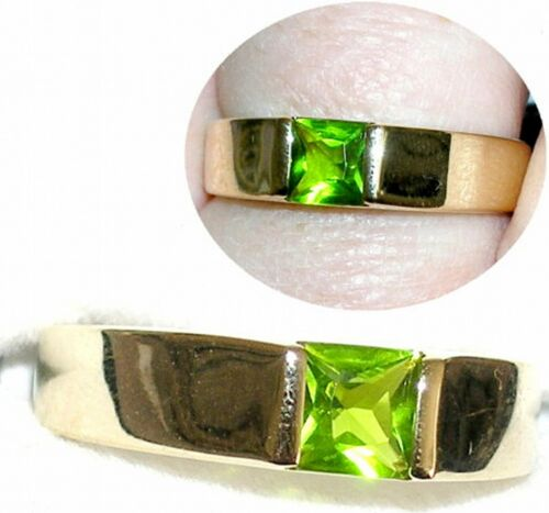 Men/'s 6x6mm Peridot Band Ring You pick Setting /& Size  #9A9 August Birthstone