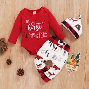 3pcs Recien Nacido Bebe Nina Nino Mi Ropa Mameluco Pantalones De Navidad 1st Gorro Conjuntos Set Ebay
