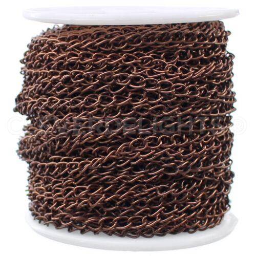 Bulk Spool Antique Copper 100 Feet Curb Chain 3.5mm x 5.5mm Twisted Link