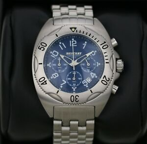 Mens-Watch-BEUCHAT-Tikehau-Steel-with-Blue-Dial-Chronograph-40mm-Divers-Watch