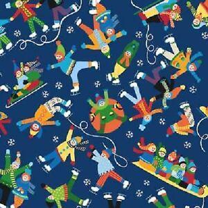 GOOD-SEASONS-WINTER-KIDS-AT-PLAY-ICESKATING-SLEDS-FABRIC-NO-24