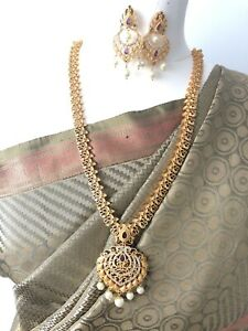 Indian-One-Gram-and-CZ-Gold-Plated-Handcrafted-Rani-Haar-Long-Haram-Necklace-New