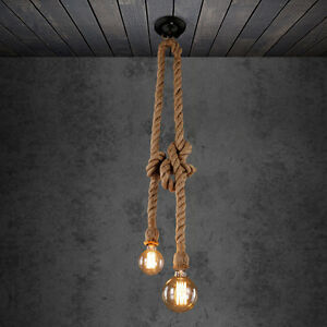 E27 industrial pendant lamp double head retro vintage edison rope image is loading e27 industrial pendant lamp double head retro vintage aloadofball