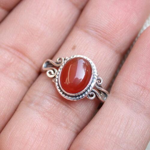 Natural Red Onyx Gemstone 925 Sterling Silver Designer Birthstone Gift Ring