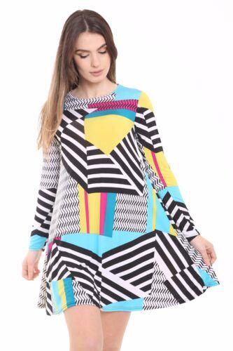 Women Long Sleeve Floral  Print Swing Skater Dress Ladies A Line Skater Dress