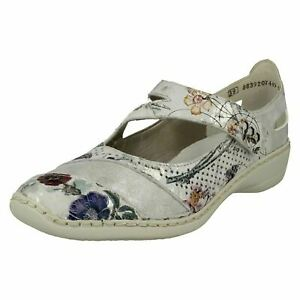 Details about Ladies Rieker Multi Hock & Loop Strap Leather Shoe 41346 90