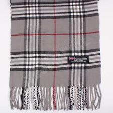 Women 100% CASHMERE Scarf Gray tartan Plaid Design Soft MADE IN SCOTLAND