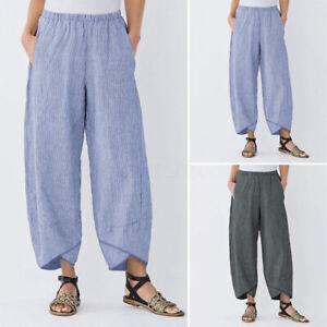 Mode-Femme-Pantalon-Loose-Bande-Stripe-Asymetrique-Taille-elastique-Poches-Plus