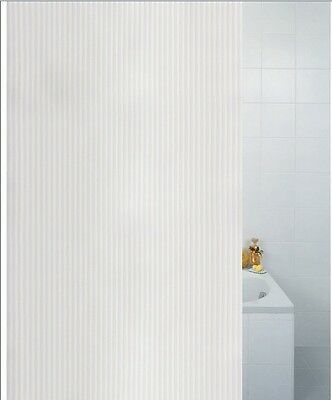 Textile Stripe White Polyester Shower Curtain 180 x 180cm