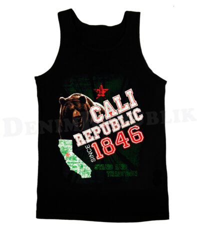 CALI REPUBLIC Since 1846 Black Tank Top Stand /& Tradition Cali Life CA T-Shirt