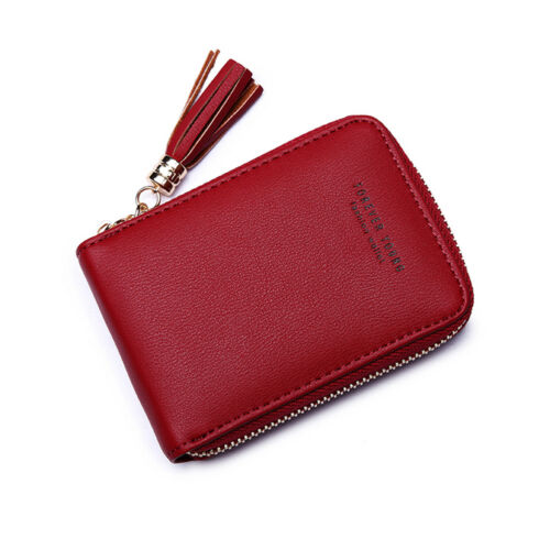 UK/_ EG/_ Faux Leather Credit Card Holder Zip Around Men Women Wallet Tassles Purs