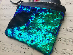 2682ec5576 Flip Sequin Make Up Bag. Reversible Sequin Clutch MERMAID GREEN ...