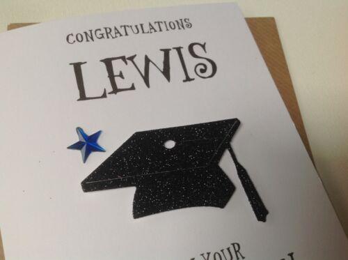 DATE et LIEU. Handmade Personnalisé Graduation-Carte Personnalisé Avec Nom