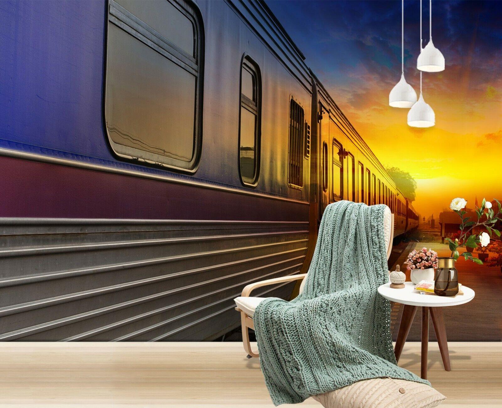 3D Train Sunset B254 Transport WandPapier Mural Self-adhesive Removable Wendy