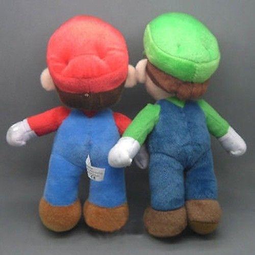 """Support LUIGI /& MARIO Plush Doll Stuffed Toy 10/"""" Lot de 2Pcs Super Mario Bros."""