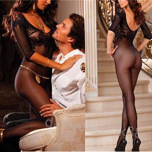 Image Is Loading Erotic Sexy Women Lingerie Nightwear Open Crotch Fishnet