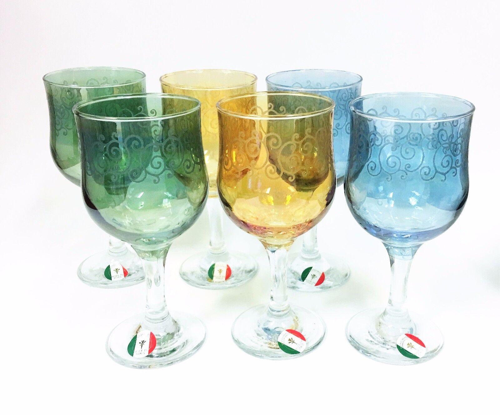 Nouvel Set de 6 Tout Usage Ambre + Vert + Verre Bleu Vin, Gobelet Italie