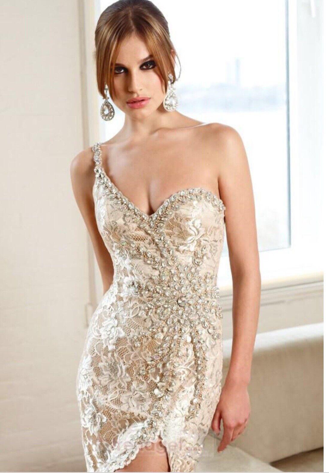 Terrani Couture Crystal Nude Dress Wedding Formal - image 1