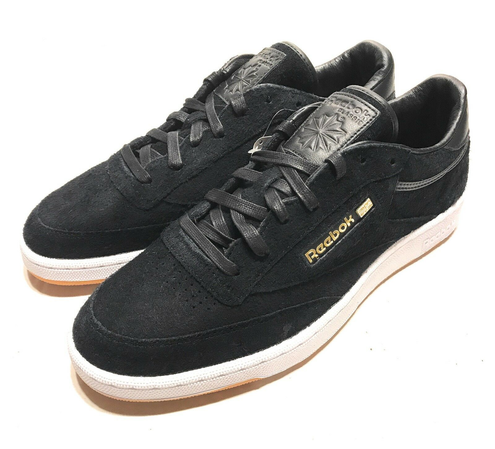 Reebok x Barneys New York Sole Series Mens Club C 85 Black Suede Shoes Size 11.5