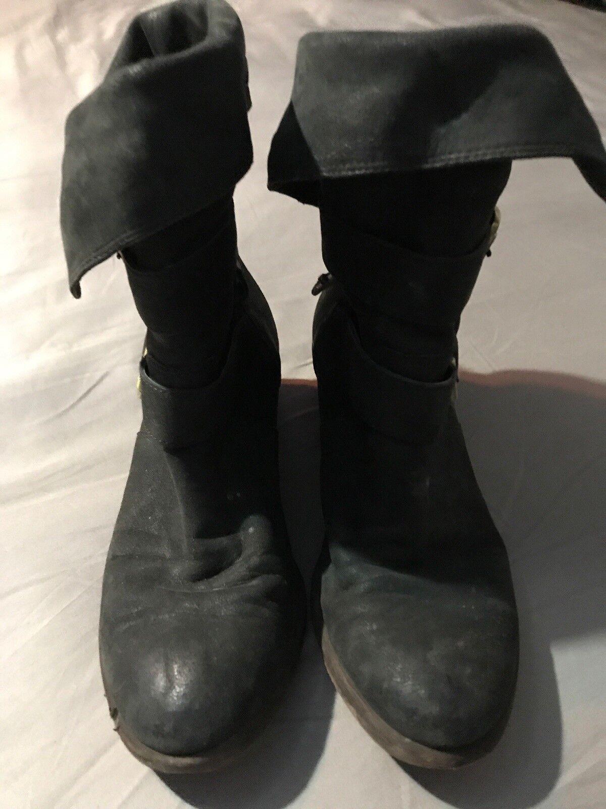 Donald J Pliner pour femme gris foncé en cuir moto Bottes Chaussures Taille 6 1 2 M