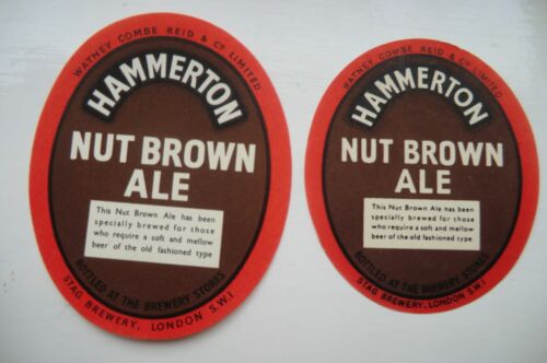 PAIR OF MINT WATNEY/'S LONDON HAMMERTON NUT BROWN ALE BREWERY BOTTLE LABELS