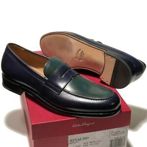 18da2dc1163dc Image is loading FERRAGAMO-Rinaldo-TRAMEZZA-Navy-Blue-Green-Leather-Penny-