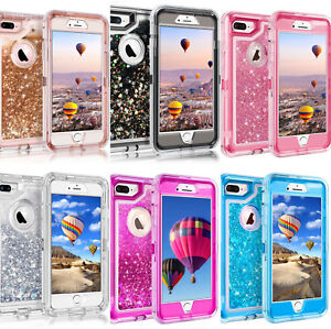 For Apple iPhone Glitter Liquid Flowing Sparkle Clear Bling Quicksand Cute Case