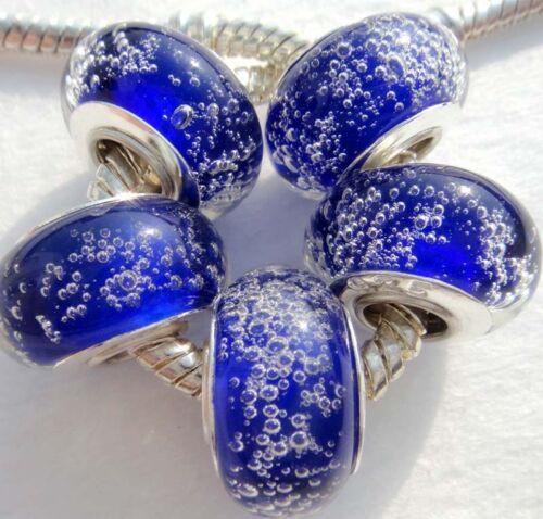 5PCS Silver Single Core Murano Lampe perles de verre Fit European Charm Bracelet A073