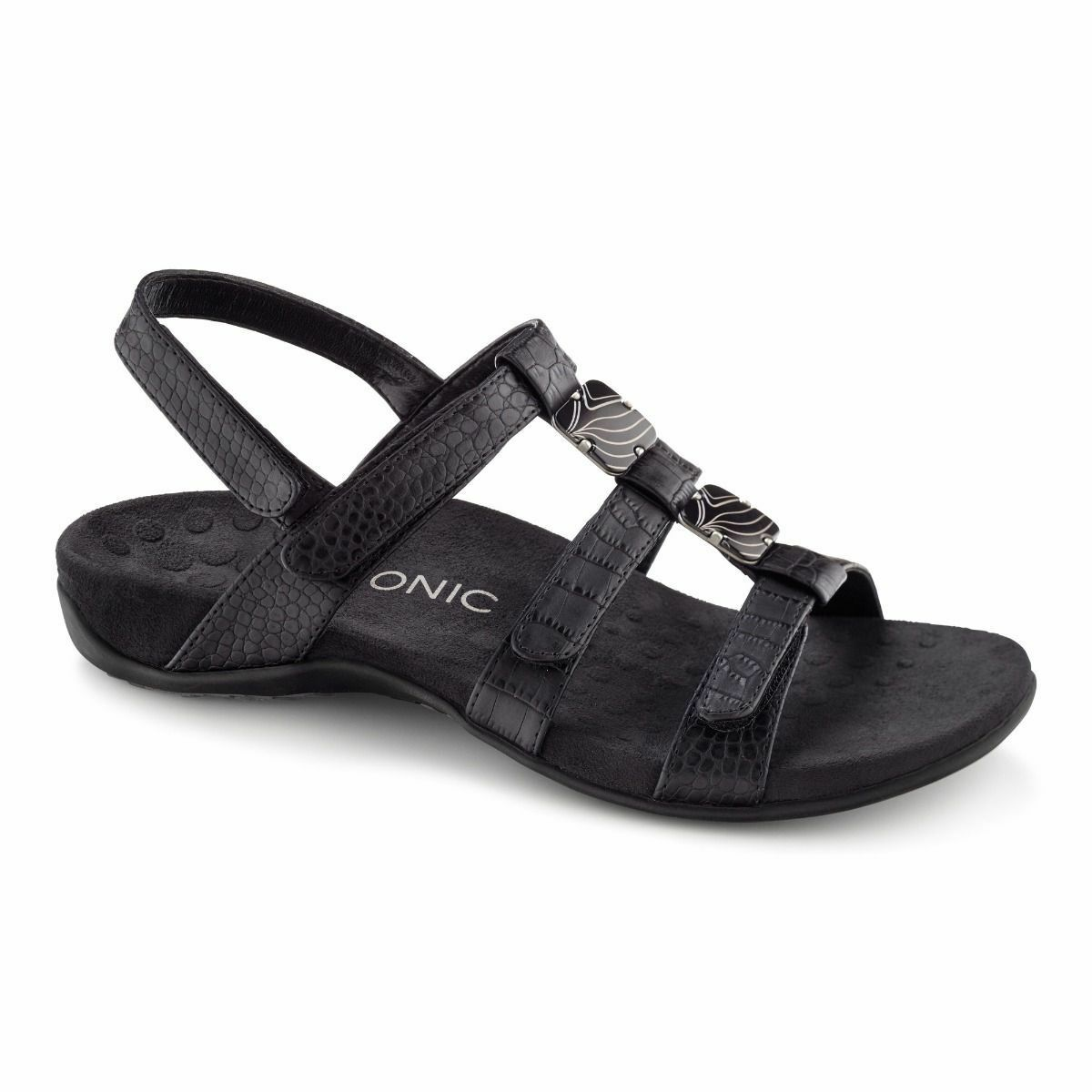 Vionic Orthotic Adjustable Amber Women's Sandal - Black Croc